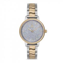 Ženski Bigotti beli srebrni elegantni ručni sat sa bikolor metalnim kaišem