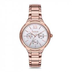Ženski Freelook Belle Multifunction Beli,Roze Zlatni Sportsko Elegantni Ručni Sat Sa Roze Zlatnim Metalnim kaišem