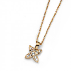 Ženski Oliver Weber Fleur Simple Gold Crystal Zlatni Lančić sa swarovski belim kristalnim priveskom