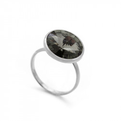 Ženski Victoria Cruz Basic L Black Diamond Prsten Sa Swarovski Crnim Kristalom