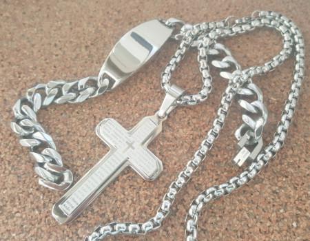 Lant +medalion +bratara INOX cod mihasem723