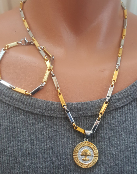 SET Lant +medalion+bratara INOX ( otel inoxidabil ) cod mihasem495