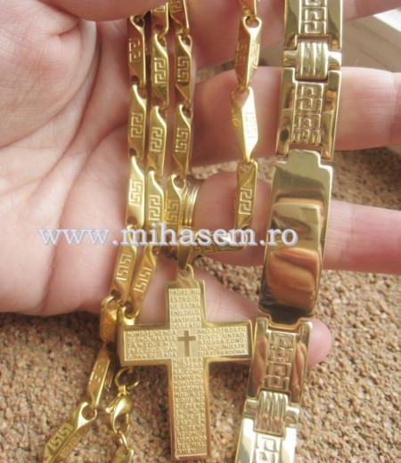 Lant+medalion+ bratara INOX placat ( otel inoxidabil ) cod mihasem344