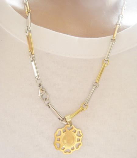 Lant   +medalion INOX  placat  ( otel inoxidabil ) cod mihasem524