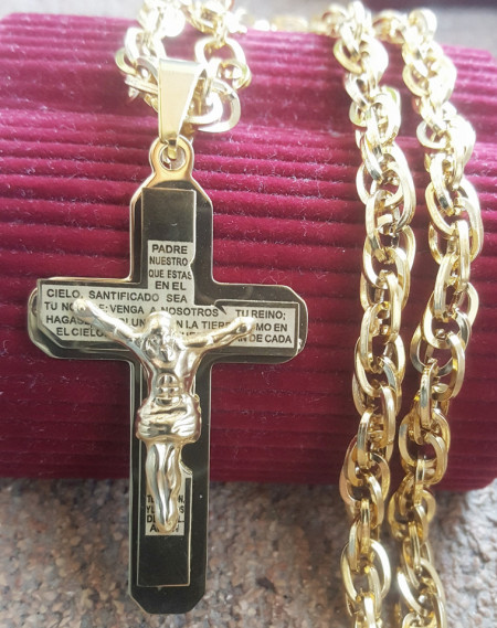 Lant +medalion INOX placat ( otel inoxidabil ) cod mihasem718