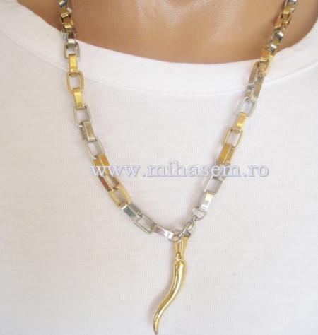 Lant +medalion  INOX  placat  ( otel inoxidabil ) cod mihasem329