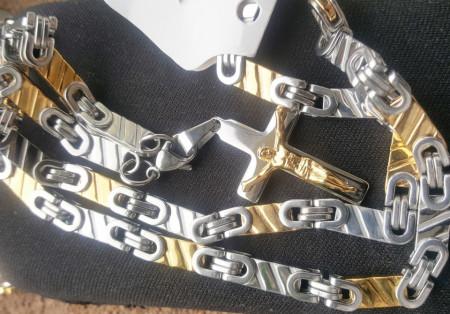 Lant +medalion INOX placat ( otel inoxidabil ) cod mihasem717