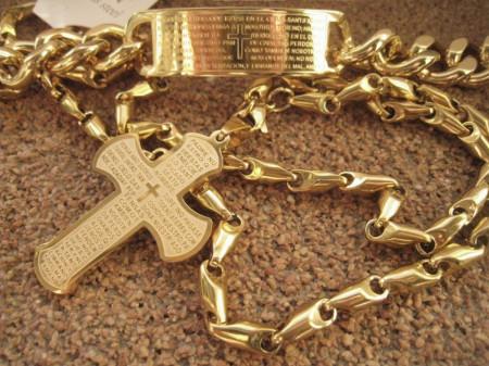 Lant +medalion +brataraINOX placat ( otel inoxidabil ) cod mihasem658