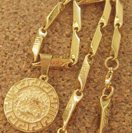 Lant +medalion INOX  placat  ( otel inoxidabil ) cod mihasem624