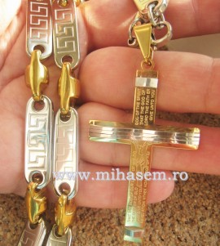 Poze SET Lant +medalion + bratara  INOX  placat  ( otel inoxidabil ) cod mihasem338