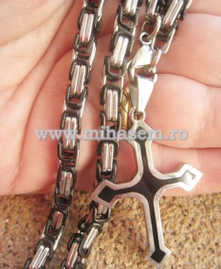 SET lant  +medalion +bratara INOX   placat ( otel inoxidabil ) cod mihasem451