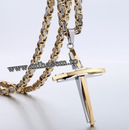 Lant   +medalion INOX  placat  ( otel inoxidabil ) cod mihasem530