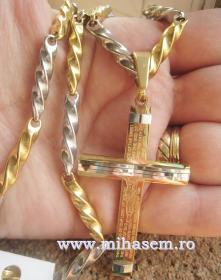 Lant +medalion  INOX placat  ( otel inoxidabil ) cod mihasem356