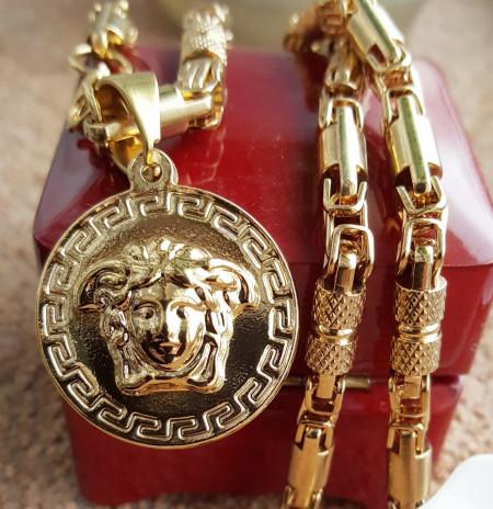 Lant +medalion INOX placat ( otel inoxidabil ) cod mihasem728