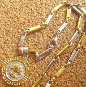 Lant   +medalion INOX  placat  ( otel inoxidabil ) cod mihasem587