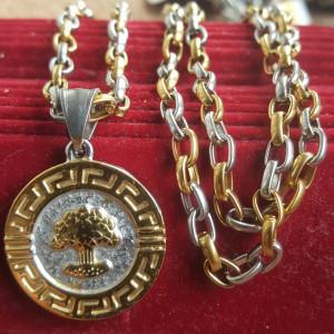 Lant +medalion INOX placat ( otel inoxidabil ) cod mihasem782