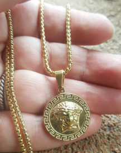 Lant +medalion INOX placat ( otel inoxidabil ) cod mihasem816