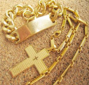 SET Lant +medalion+bratara   INOX placat  ( otel inoxidabil ) cod mihasem542