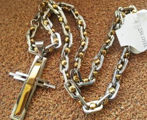 Lant +medalion INOX placat ( otel inoxidabil ) cod mihasem423