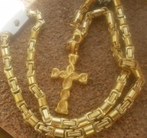 Lant +medalion INOX placat ( otel inoxidabil ) cod mihasem748