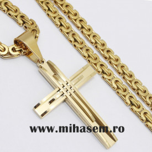 Lant +medalion INOX placat ( otel inoxidabil ) cod mihasem805