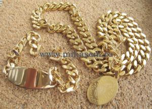 SET Lant +bratara +medalion INOX placat ( otel inoxidabil ) cod mihasem473