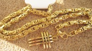 Lant +medalion  INOX placat  ( otel inoxidabil ) cod mihasem398