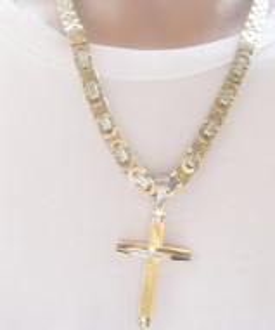 Lant +medalion INOX  placat  ( otel inoxidabil ) cod mihasem535