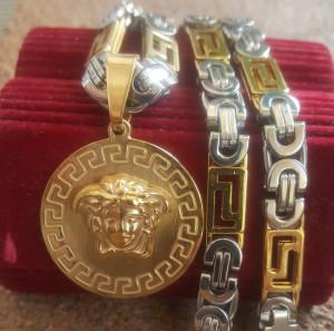 Lant +medalion INOX placat ( otel inoxidabil ) cod mihasem611