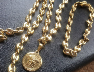 SET Lant +medalion +bratara INOX placat ( otel inoxidabil ) cod mihasem809