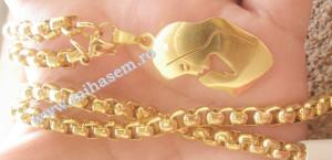 Lant  +medalion INOX  placat  ( otel inoxidabil ) cod mihasem333
