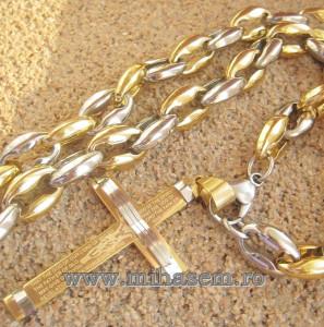 Lant +medalion INOX placat ( otel inoxidabil ) cod mihasem480