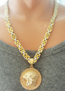 Lant +medalion INOX placat cod mihasem759