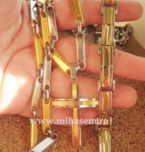 SET Lant +medalion  +bratara INOX  placat  ( otel inoxidabil ) cod mihasem331