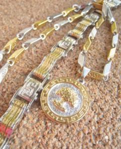 Lant+medalion+ bratara  INOX placat   ( otel inoxidabil ) cod mihasem575