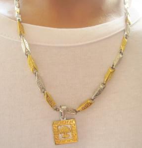 Lant +medalion INOX  placat  ( otel inoxidabil ) cod mihasem536