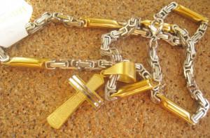 Lant +medalion   INOX  placat  ( otel inoxidabil ) cod mihasem584