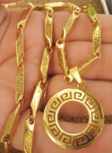 Lant +medalion INOX  placat  ( otel inoxidabil ) cod mihasem623