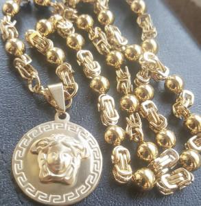 Lant +medalion INOX placat ( otel inoxidabil ) cod mihasem740