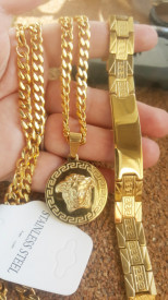 SET Lant +medalion+bratara INOX placat( otel inoxidabil ) cod mihasem781