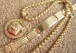 Lant +medalion +bratara INOX placat ( otel inoxidabil ) cod mihasem722