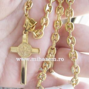 Lant  +medalion  INOX  placat  ( otel inoxidabil ) cod mihasem316
