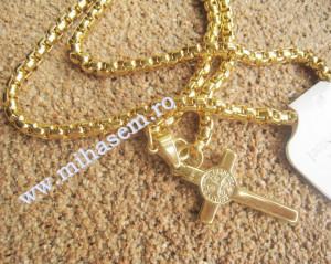Lant  +medalion INOX  placat  ( otel inoxidabil ) cod mihasem358