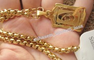 Lant  +medalion INOX  placat  ( otel inoxidabil ) cod mihasem387