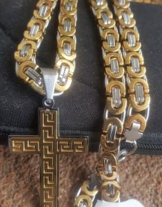 Lant +medalion INOX placat ( otel inoxidabil ) cod mihasem391