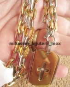 Lant  +medalion INOX  placat  ( otel inoxidabil ) cod mihasem392