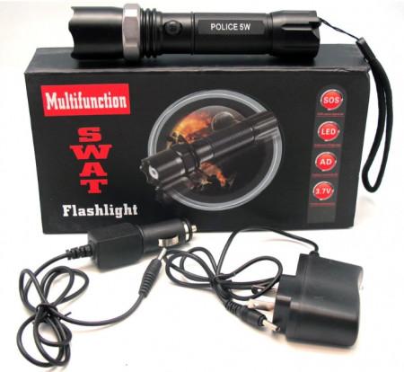 PACHET - 2 X LANTERNA SWAT LED 3W Q5 METALICA REINCARCABILA