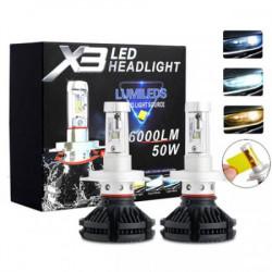SET 2 BECURI LED AUTO X3 PUTERE 50W 6000LM H4 H7 FARA EROARE BEC ARS
