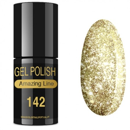 VERNIZ GEL AMAZING LINE 5ml 142 GOLD GLITTER