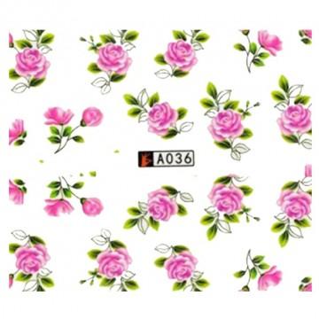 Decalque de Água A036 Flores Rosas